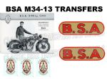 BSA M34-13 1930's Transfer Decal Set DBSA151